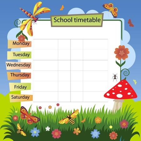 school agenda: Ilustración con la imagen de fondo de verano al horario de entrenamiento