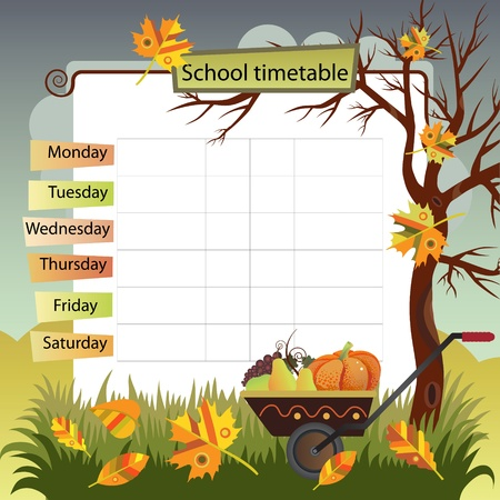 school schedule: Illustration with the image of autumn  Background to the training schedule