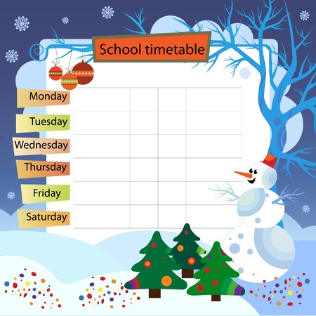 Illustration with the image of winter  Background to the training schedule Stock Vector - 21910784