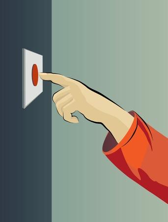 Illustration avec l'image d'une main et d'un bouton rouge