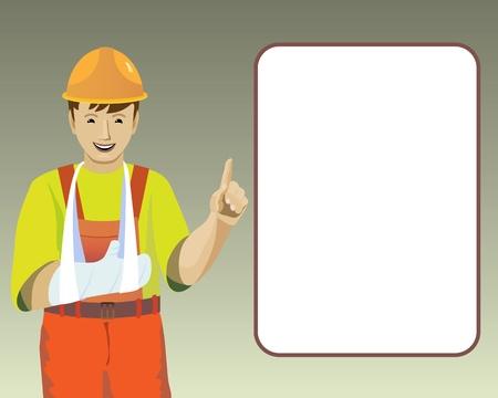 accident rate: Ilustraci�n con la imagen de la lesi�n en la mano de trabajo Vectores