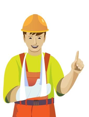 obvaz: Ilustrace s obrazem pracovního zranění ruky