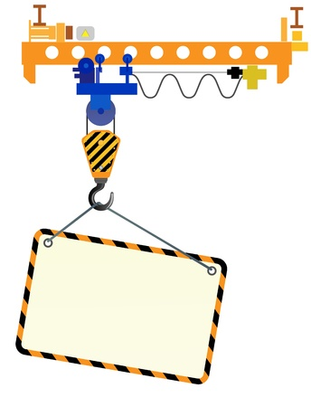 Image of crane beam with a hook and a place for text on a white background  Ilustracja