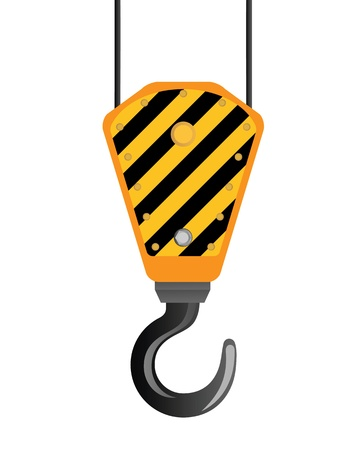 rope bridge: Image of crane beam with a hook on a white background
