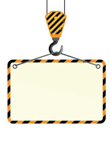 steel beam: Yellow crane and hook on a white background