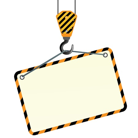 steel bridge: Yellow crane and hook on a white background
