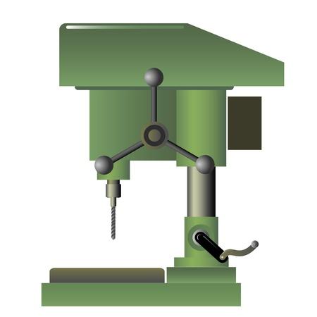 taladro: Ilustración de la máquina de perforación en el fondo blanco Vectores