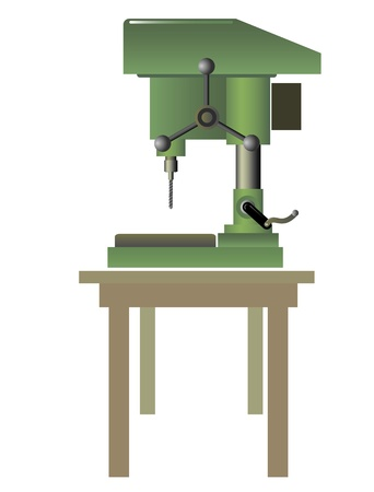 working machines: Drilling machine on the table  Isolated on a white background  Vector