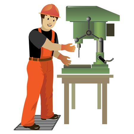 drill: Image of working with drill press  Vector