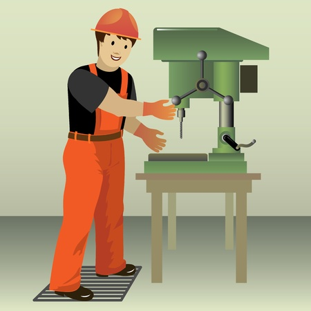 electric drill: Image of working with drill press  Vector