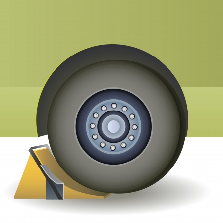 safety shoes: Image repair wheels with wheel chocks   Illustration