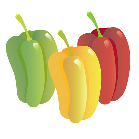 vegetarianism: Image of red, green and yellow pepper on a white background