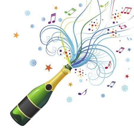 Abstracte compositie voor Kerstmis met de explosie van champagne
