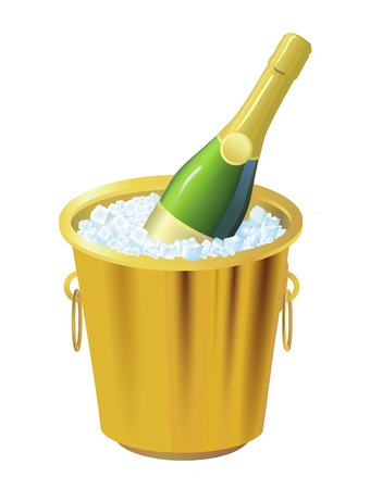 Illustration of the Christmas holiday with a bottle of champagne in an ice bucket  Vector