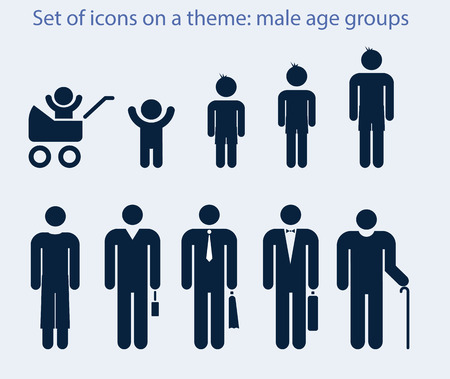 Set of icons on a theme  male age groups  Vector