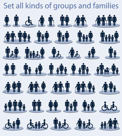 planificación familiar: Conjunto de iconos sobre un tema - todo tipo de grupos y familias
