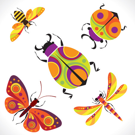Set of stylized images of insects   Illustration