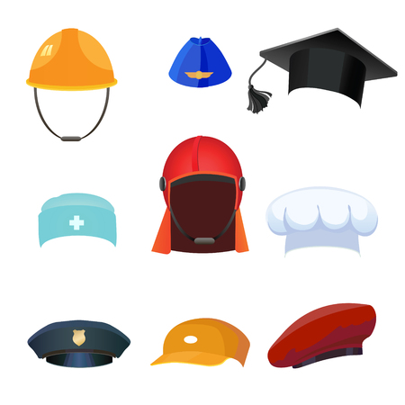strictly: Set caps from different forms of professions. Illustration