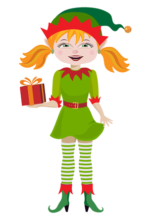 Beautiful blonde woman in Elf clothing Vector