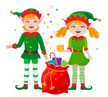 lucky bag: Two elf with a bag of gifts for the Christmas holiday.
