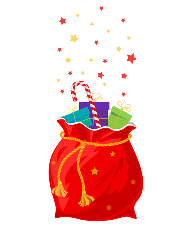 lucky bag: Red bag with gifts for Christmas on a white background.