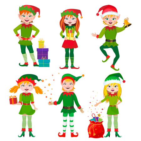 christmas wishes: Six Christmas Elf on white background.