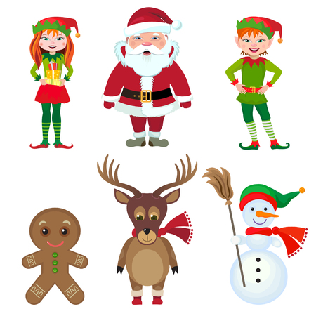 Set of fairytale characters for Christmas Vector