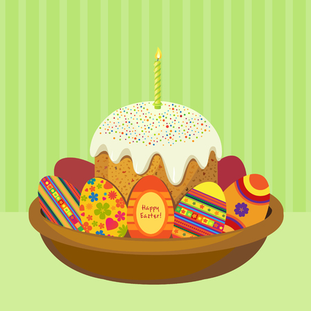 Cake for Easter egg in a dish with space for text. Vector