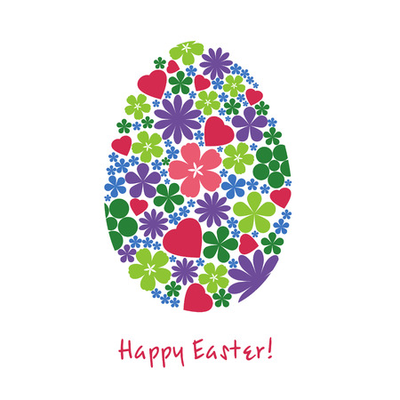 holy place: Illustration for Easter. Egg from flowers on a white background. Illustration