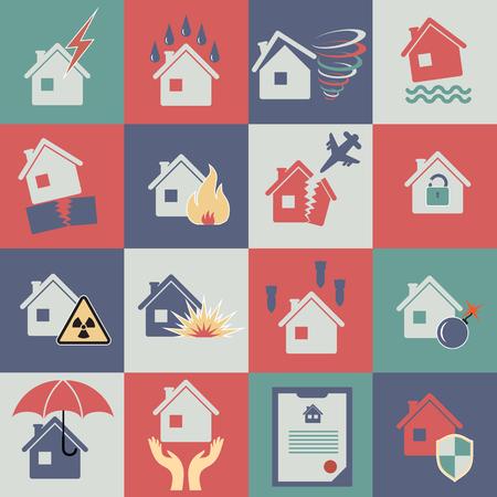 property insurance: Set de iconos para el seguro de propiedad Vectores