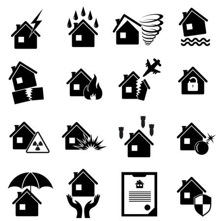 property insurance: Set of icons for property insurance