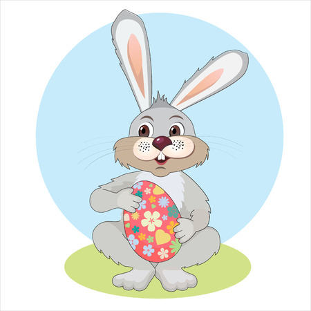 Illustration for Easter. Bunny with Easter egg from flowers on a white background Vector