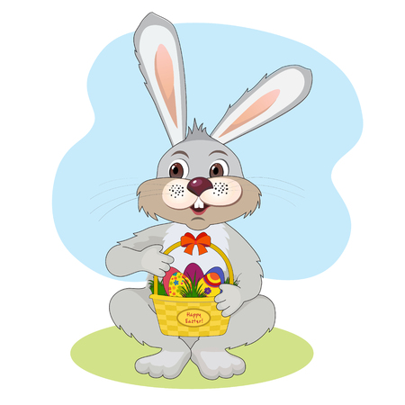 Illustration for Easter. Bunny with a basket with Easter eggs Vector