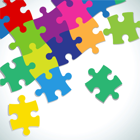designate: The composition of the unfinished puzzle on a white background.