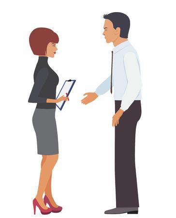 negotiations: Las negociaciones entre el hombre y la mujer en la oficina.
