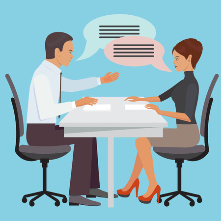 negotiations: Negotiations between man and woman in the office.