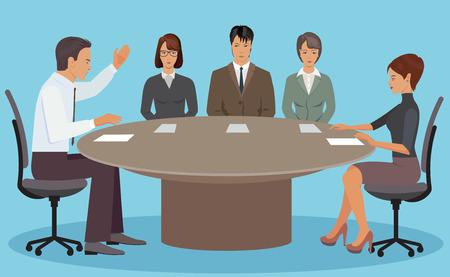 negotiations: Las negociaciones entre el jefe y los empleados en la oficina en la mesa