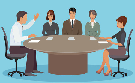 translator: Negotiations between the boss and employees in the office at the table