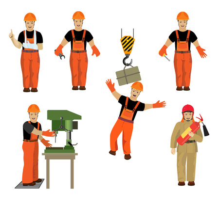 accident rate: Set with the image of workers in different occupations Vectores