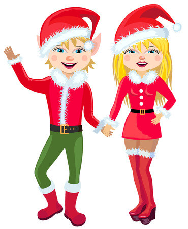 Vector illustration. Two elf in a red suit Congratulations on Christmas.