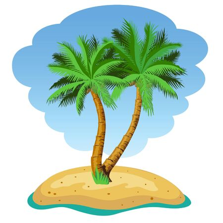 frond: Two palm trees on the island. Illustration. Vector.