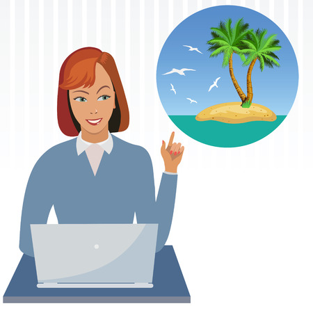 red hair beauty: Office Employee dreaming about vacation. Illustration. Vector. Illustration