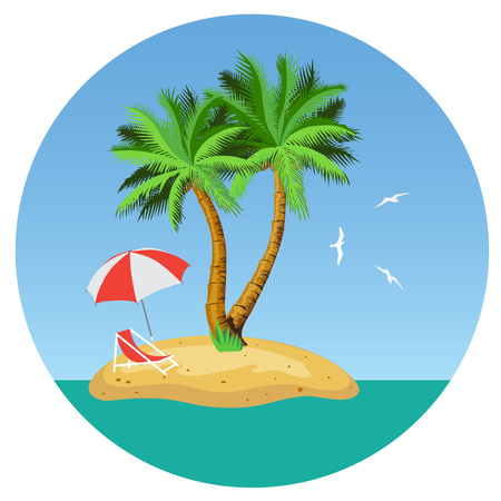 loungers: Island with two palm trees, parasols and deckchairs. Illustration. Vector. Illustration