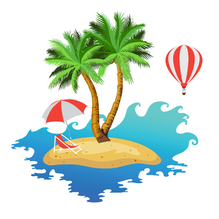 Island with two palm trees, parasols and deckchairs. Illustration. Vector. Illustration