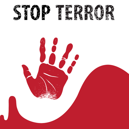 indignation: Vector. Handprint with the words: Stop terror. Illustration