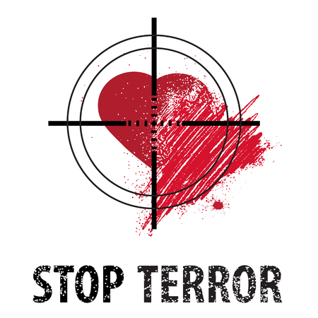 indignation: Vector. With an eye and wounded hearts and with the words Stop terror.