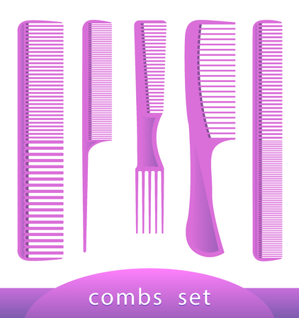 combs: Set of different combs, barber comb, salon, comb hair, isolated on white. Female things. Accessory, care for themselves. Vector illustration of plastic hair comb. EPS 10 Illustrator.
