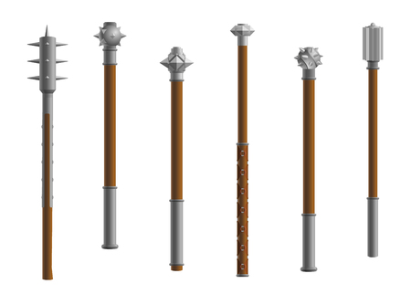 mace: Vector spear weapon. Medieval mace theme set