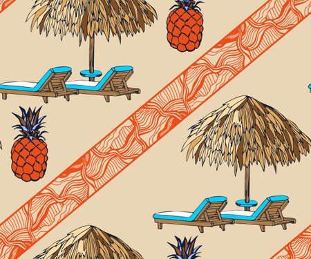 Seamless summer beach pattern. Hello Summer, holiday concept. Pop art. Summer holiday. Vector seamless pattern illustration