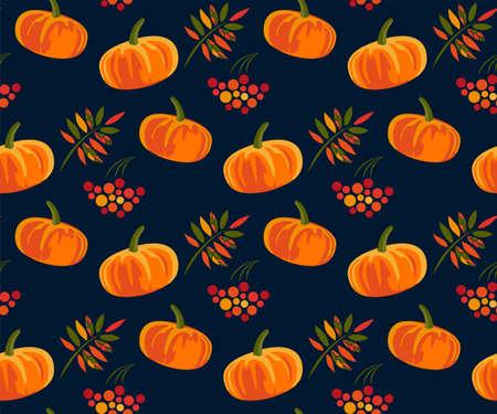 Vector autumn leaves and pumpkin, halloween pattern. Floral stock vector illustration